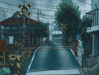 rainy crossroads