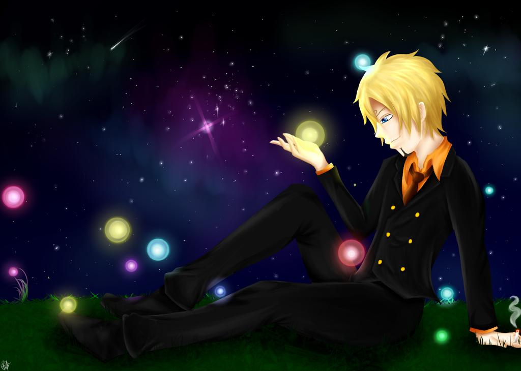 Sanji and Fireflies by OtakuDemonX