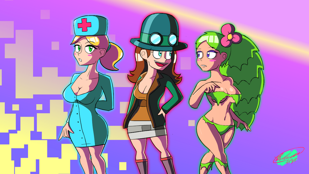 Anime Characters In Terraria : Terraria nurse steampunker and dryad by twisted on