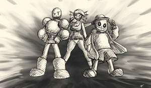 Undertale - Papyrus, Undyne, and Sans by Twisted4000