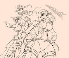 Pyra and Mythra Sketch | Xenoblade