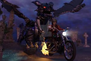 Biker Babe and Mecha Dragon