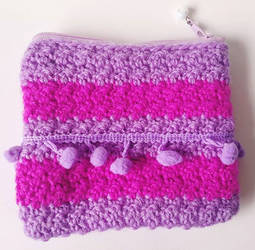 Cheshire Cat Inspired Crochet Zippered Pouch