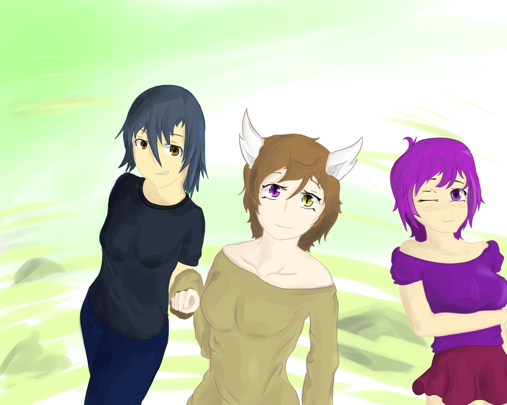 Rukasu, Desy and Purple by Raposa1