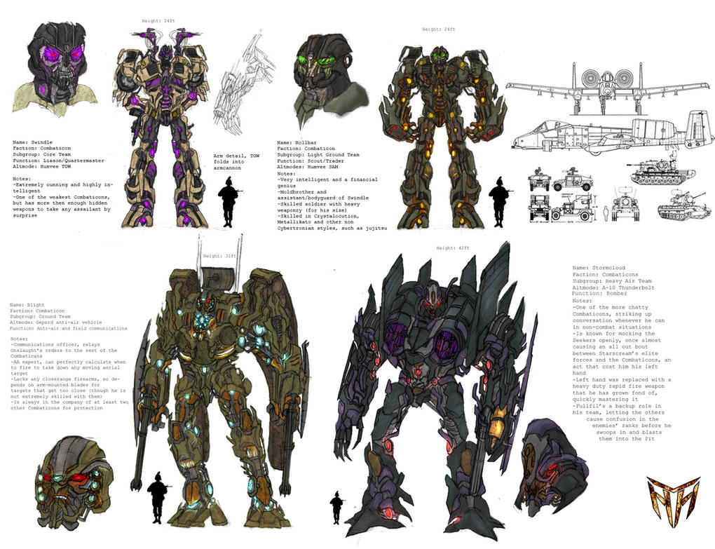 Concept Art Combaticons Swindle Rollbar Blight Stormcloud Transformers 3
