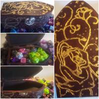 Golden Rose coffin Dice Box