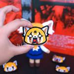 Aggretsuko patch, Aggretsuko button pin by LerumaDolls