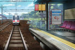 Anime Stylized Train Station