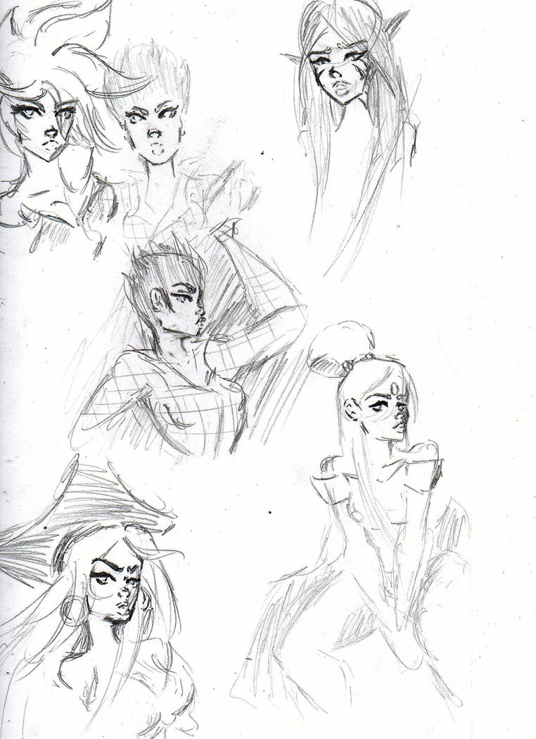 Random Sketches with RossDraws studies by SparkieTheArtist