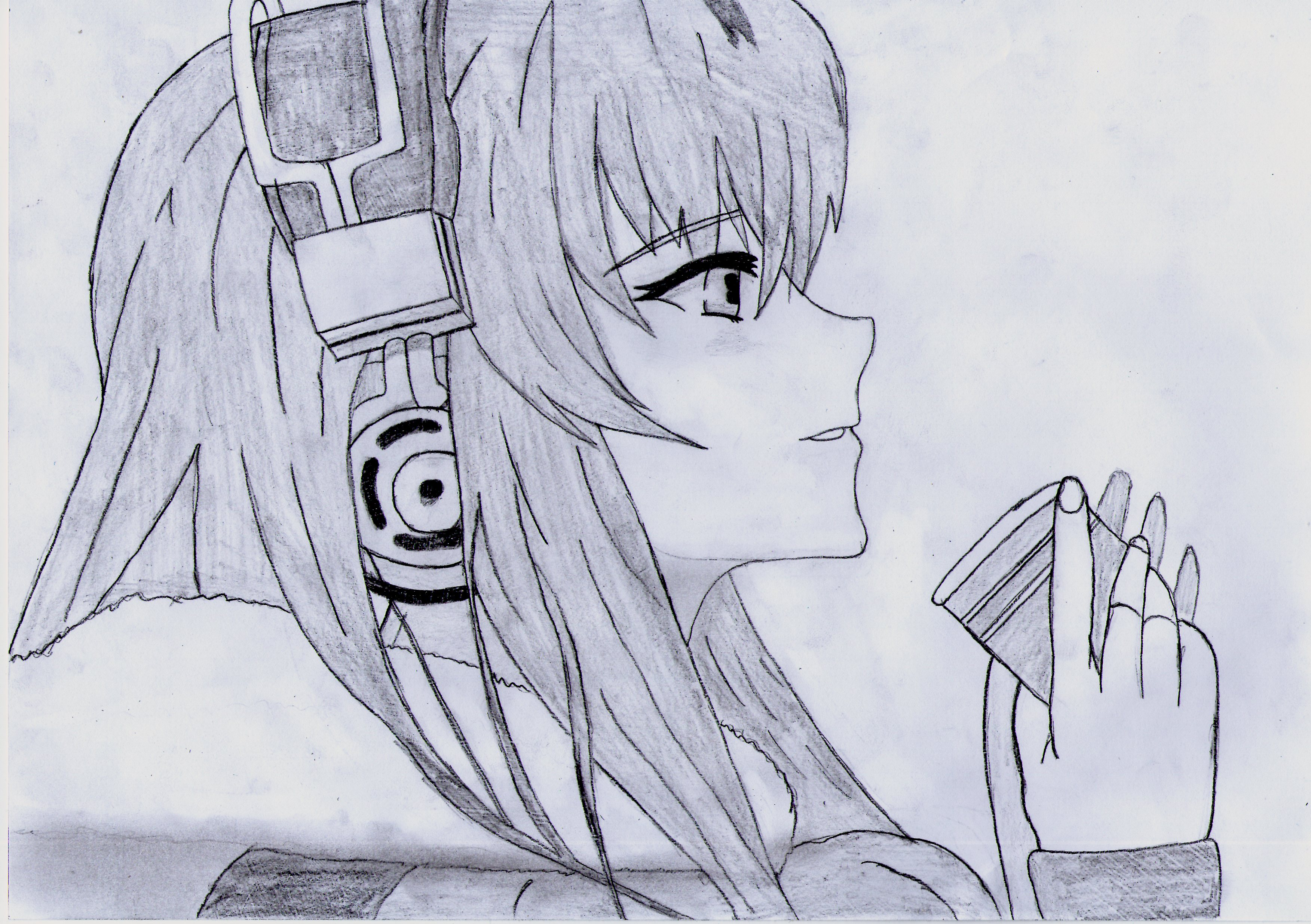 Headphone Anime Girl Drawing By 1DragonWarrior1 On DeviantArt