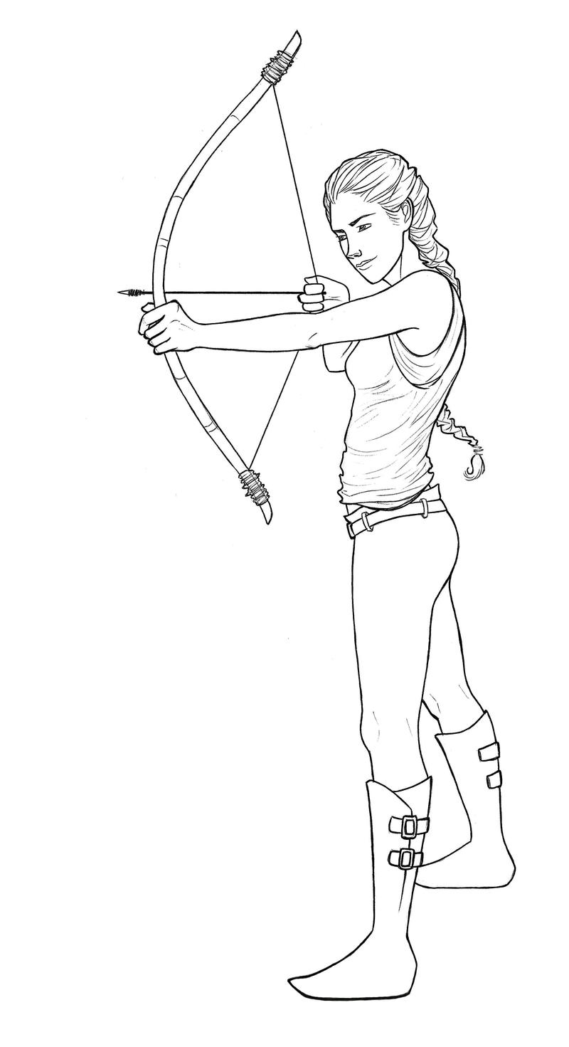 hunger games printable coloring pages | Katniss Everdeen From The Hunger Games - Free Coloring Pages
