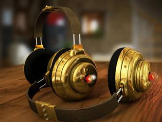 steampunk headphones by mozzzca