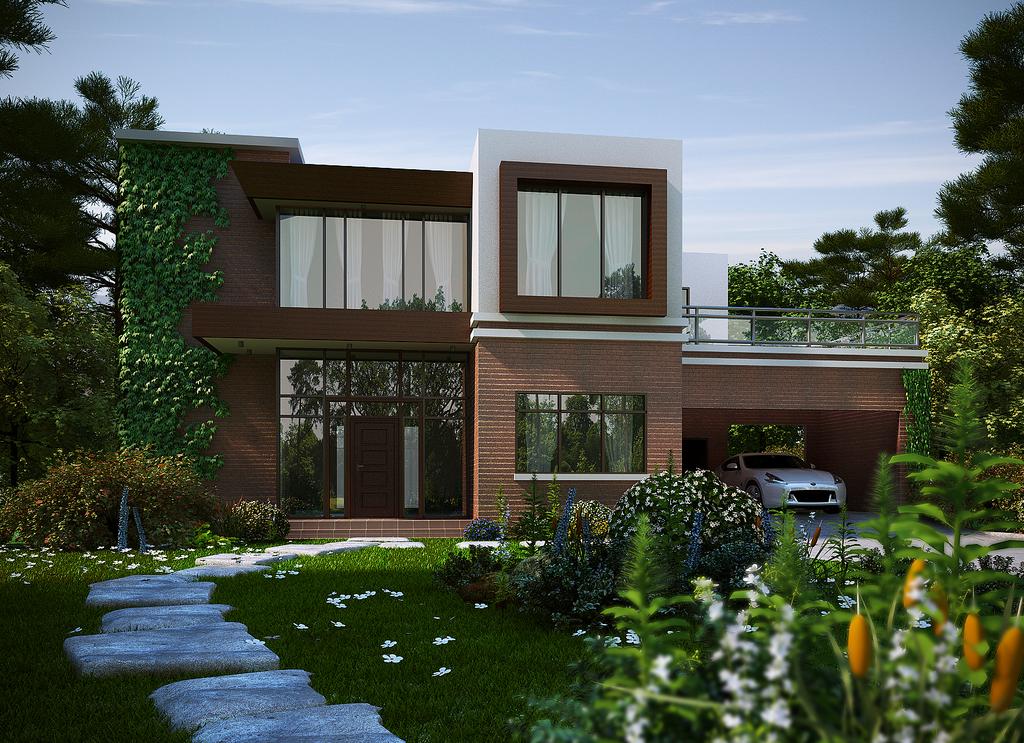 Modern Brick House By Biz Kong On Deviantart
