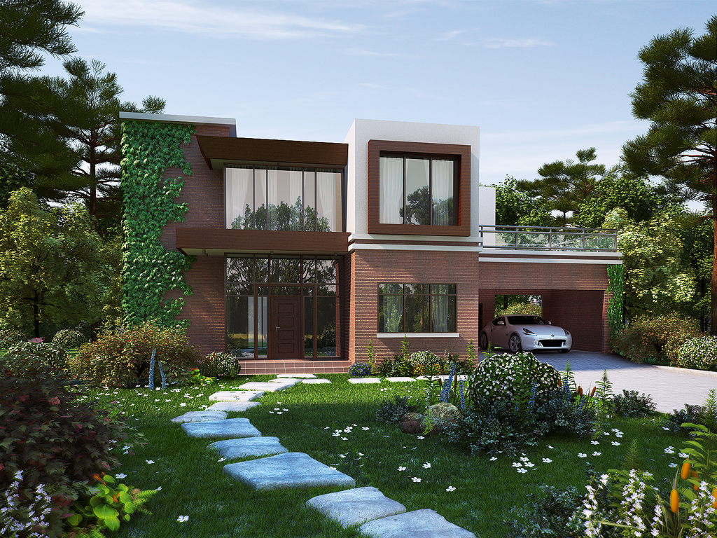 modern brick house view1 by biz kong on deviantart