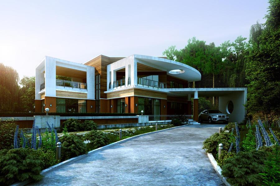 modern house on the hill by biz kong on deviantart