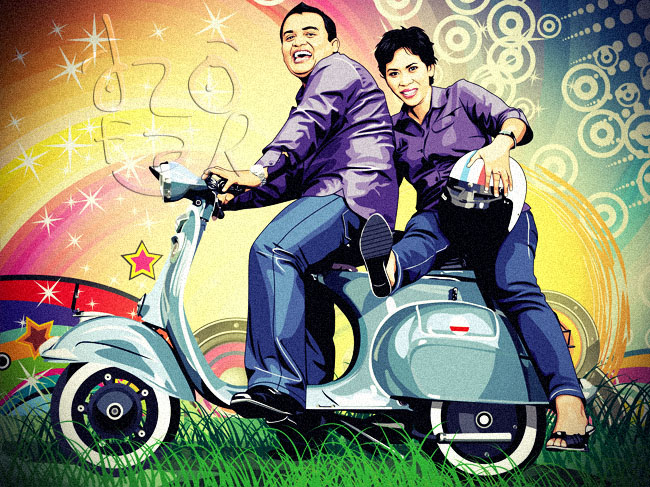 Vector Cartoon Couple and Vespa Scooter by ndop on DeviantArt