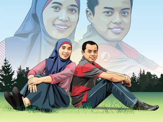 Couple Enjoy Nature Vector by ndop