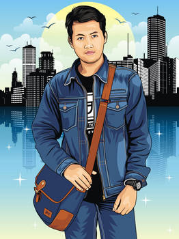 The boy with jeans jacket and bag in city vector