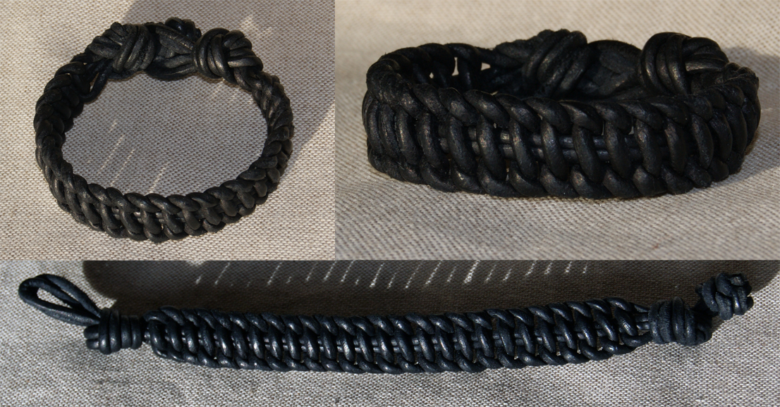 Flat Leather Macrame Bracelet by Avanger