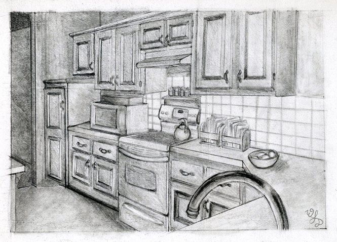 how to draw a kitchen in one point perspective