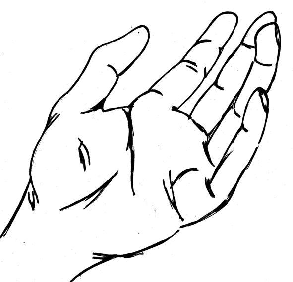 open hand sketch by blondeben
