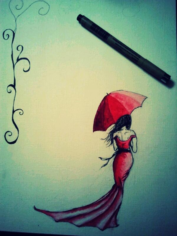 Red Dress Sketch by dreamerzee