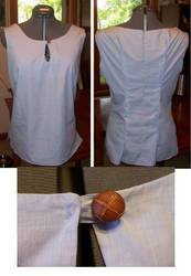 Blue shirt with wooden button