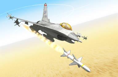 Sketchup F-16CJ firing HARM missile by Jessirelli