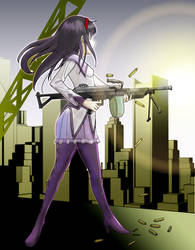 Akemi Homura with m249/fn minimi by Jessirelli