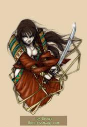 Samurai woman Tattoo-color by CopperAge