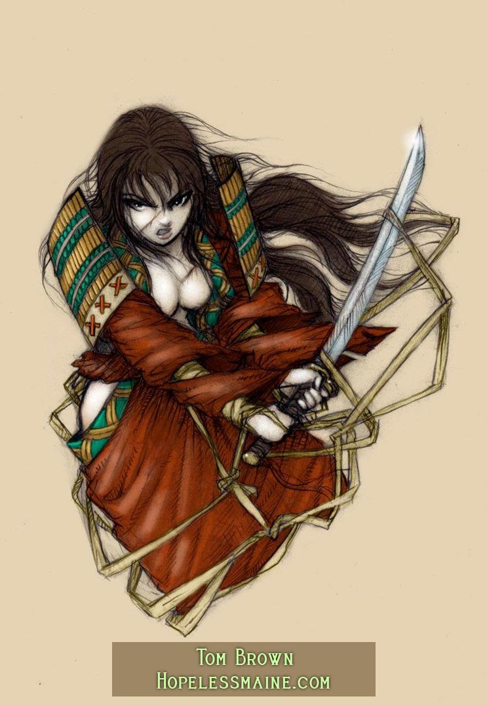 Samurai woman tattoo color by copperage on deviantart for Female samurai tattoo