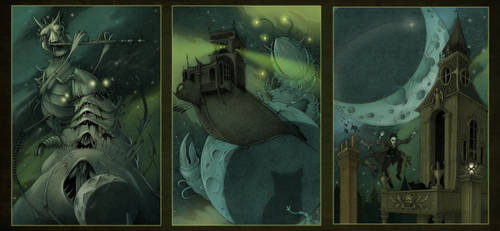Dream Quest of Unknown Kadath triptych