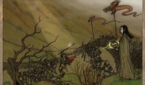 Arthur and Merlin in battle