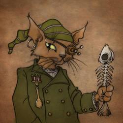 Steampunk pirate cat by CopperAge