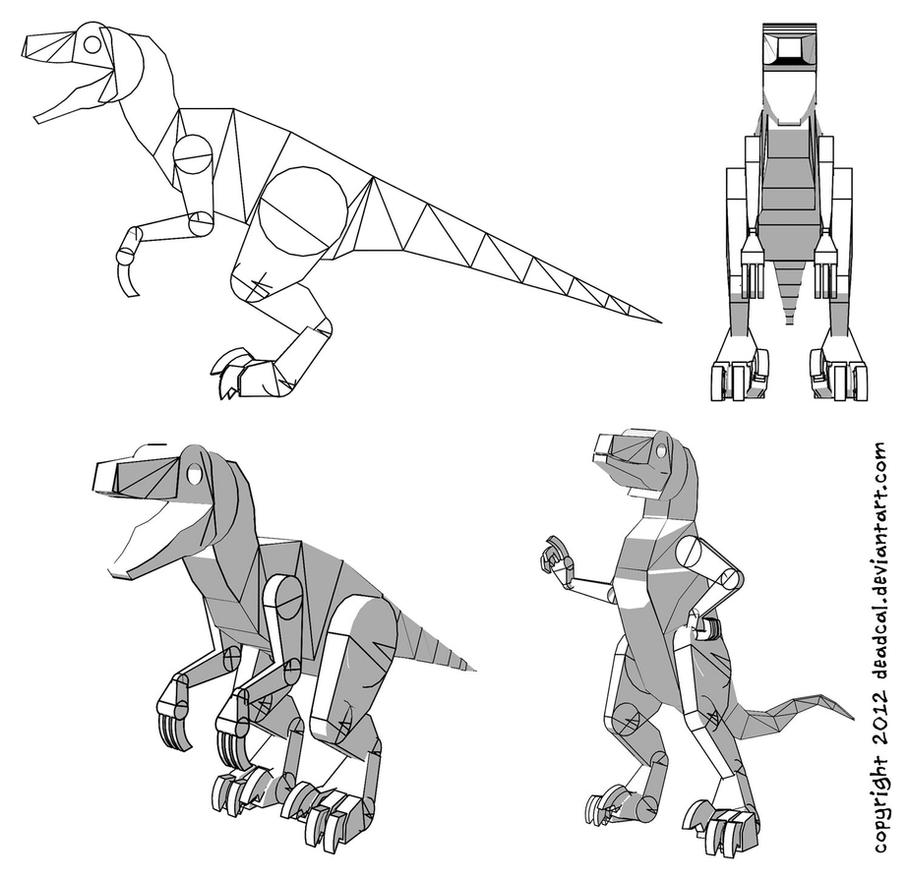 Line Drawings From D Models : Velociraptor drawing template from a d model by deadcal
