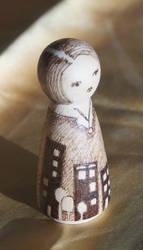 City Spleen - wood burned doll by aksinia