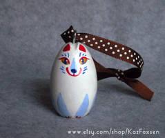 Kitsune White Fox Ornament by KazFoxsen