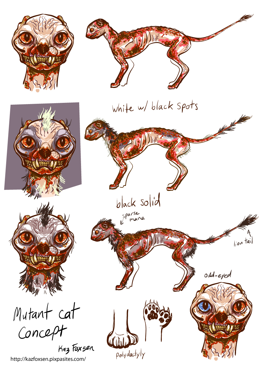 fallout mutant cat concept by kazfoxsen on deviantart