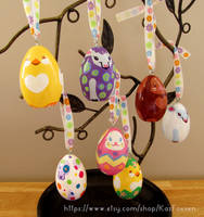 Kawaii Hand-Painted Easter Ornaments by KazFoxsen