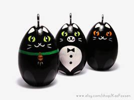 Hand-painted Egg Ornaments Black Catapalooza! by KazFoxsen