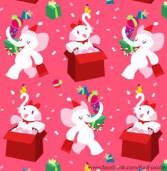 Kawaii Cartoon X-mas White Elephant Party Pattern