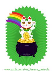 Japanese Lucky Cat Pot of Gold Zazzle Design