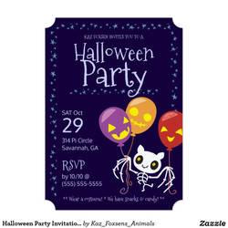 Custom Halloween Party Invitation Bat Skeleton by KazFoxsen