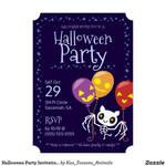Custom Halloween Party Invitation Bat Skeleton