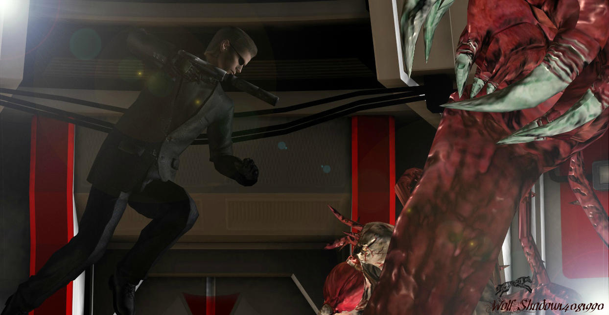 Wesker vs Tyrant by WolfShadow14081990