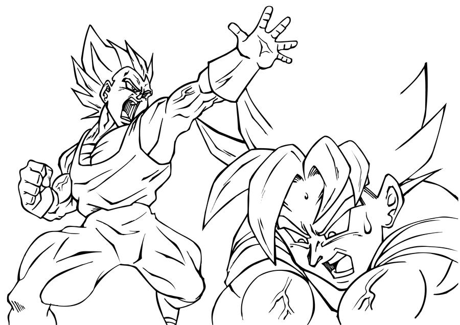 Vegeta and goku inked by guerotheartist on deviantart for Goku and vegeta coloring pages