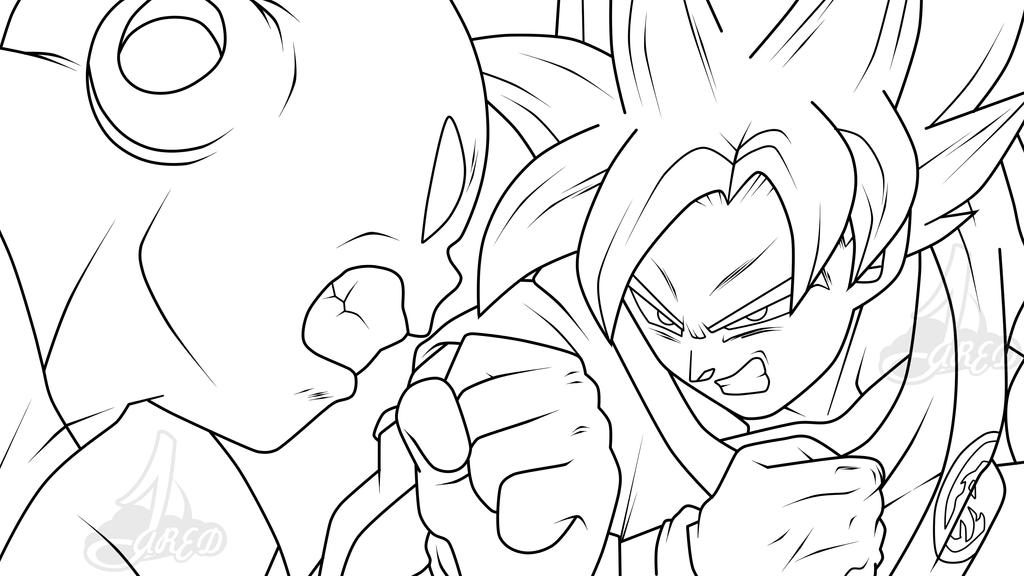Goku ssj blue vs Jiren dbs LineArt by jaredsongohan on DeviantArt
