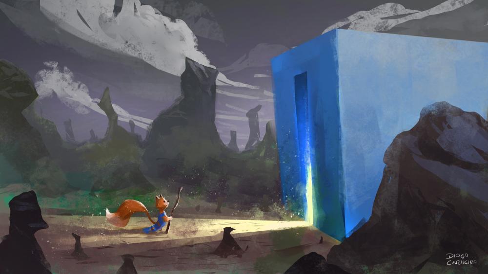The blue box + Fox temple by diogocarneiro