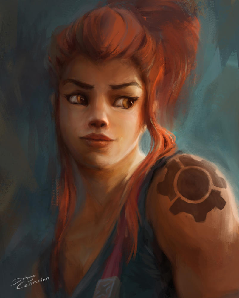 My first Overwatch FanArt: portrait of Brigitte! by diogocarneiro