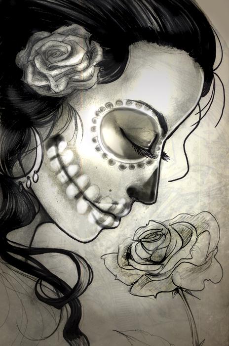 Sugar Skull Woman Sketch By Sabtastic